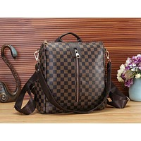LV Louis Vuitton Popular Monogram Leather Travel Bookbag Shoulder Bag Single Zipper Backpack Coffee Tartan I-WMXB-PFSH