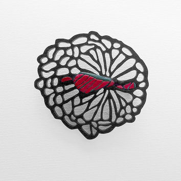 Brooch, contemporary jewelry design, FREE Shipping by registered mail, handmade, laser cut wood, polymer clay, unique, original, gift idea