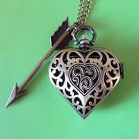 Antique pocket watch jewelry necklace pendant copper love heart locket hunger games Arrow charm