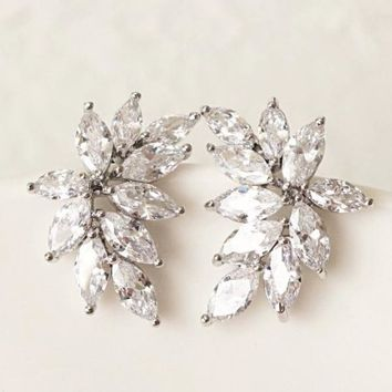 Sparkly Marquise Cubic Zirconia Leaf Stud Earrings Dainty Petite Bridal Jewelry