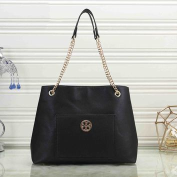 Tory Burch Fashionable Women Shopping Leather Handbag Shoulder Bag Crossbody Satchel Black