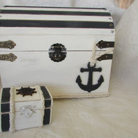 Original nautical wedding card box and Matching ring box White with Charcoal stripes anchor wheel Rope