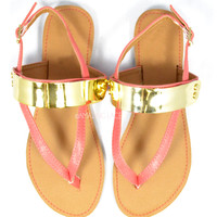 Hardware Monticello Coral Gold Metal Plate Sandals