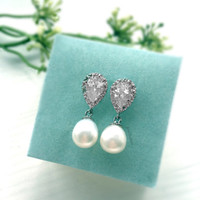 Bridal Pearl Earrings, Freshwater Pearl, Sterling Silver, Cubic Zirconia, Crystal, Bride, Wedding Jewelry, Bridesmaids, Gift, Maid of Honor