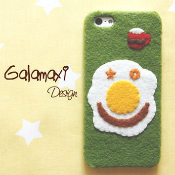 Handmade Cute Felt Phone Case, Fried Egg Breakfast Phone Case, Handmade Felt iPhone 4/4S/5/5S/5C Case / Fried Egg Phone Case