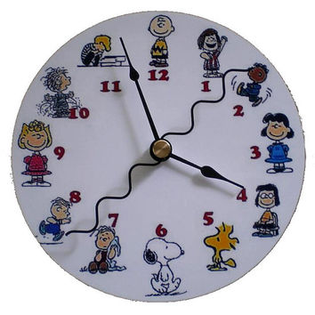 Cd Clock Peanuts Charlie Brown Lucy Snoopy Sally Recycled Hand Made Compact Disc Clock for Desk or Wall