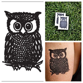 Owl  temporary tattoo Set of 2 by Tattify on Etsy