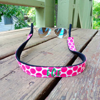Monogrammed Sunglasses Kroakies- Pink Polka Dot #3 and Green