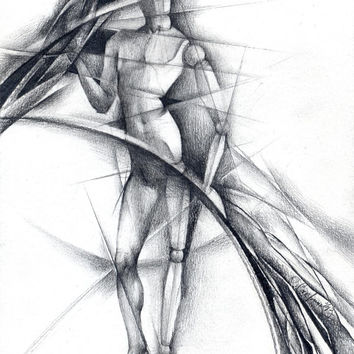 "Abstract pencil drawing original - figurine drawing - ""Hinges"", surrealism, paper"