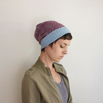 Knit Hat - Geometric Pattern - Ice Blue & Maroon
