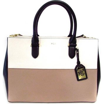 LAUREN Ralph Lauren Women's Newbury Double Zip Satchel Top Handle Handbag