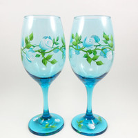 White Aqua Blue Rose Buds Wine Glasses Hand Painted Set of 2
