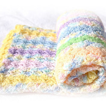 Pastels Baby Blanket, Striped Crochet Baby Blanket, Crochet Baby Blankets, Striped Baby Blanket, Pastels Baby Afghan, Hand Crochet Afghans