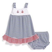 Infant Girl's Kissy Kissy Nautical Stripe Dress & Diaper Cover