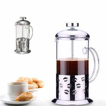 New Stainless Steel Glass Teapot Cafetiere French Coffee Tea Percolator Filter Press Plunger Manual Coffee Espresso Maker Pot