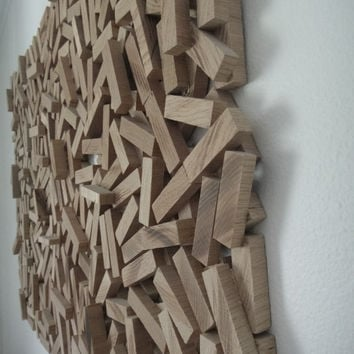 Abstract Wood Sculpture, Wall Hanging, Wood Wall Art, 'Wood strips'.FREE SHIPPING