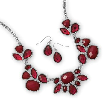 Red and Silver Tone Bib Style Fashion Necklace and Earring Set