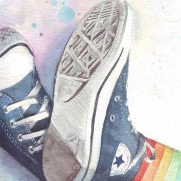 HM073 Original watercolor painting of Converse All Stars with rainbow socks art by Hel