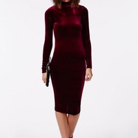Missguided - Parker High Neck Velvet Midi Dress Wine