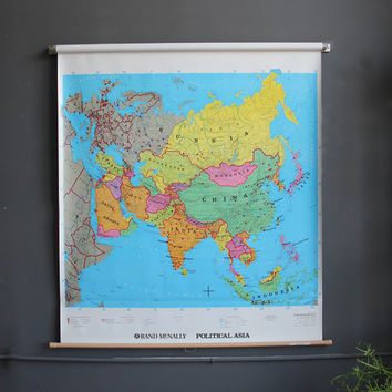 Large School Pull Down Map of Asia - 4 ft x 4 ft