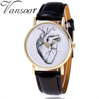 Vansvar Brand Vintage Leather Human Anatomy Heart Wrist Watch Casual Fashion Ladies Women Quartz Watch Relogio Feminino V46