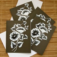 Hand Painted Black and White Flowered Cards