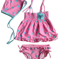 Opentip.com: Toptie Toddler Girls' Swimsuit, Tied Strap, Blue Dots Printed on Pink