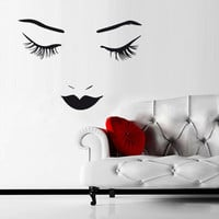 Wall Vinyl Sticker Decals Decor Girls Face Eye Lips Decal (z1247)
