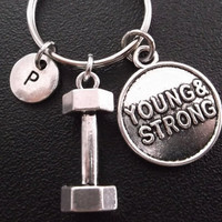 Young and strong, 3D dumbbell keyring, keychain, bag charm, purse charm, monogram personalized gifts item No.291