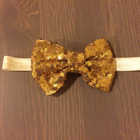 Gold Sequin Bow Headband, Newborn Headbands, Glam Headband, Sequin Headbands, Photo Prop, Baby Headbands, Toddler Headbands, READY TO SHIP