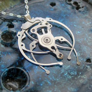 "Watch Parts Pendant ""Weaver"" Delicate Beautiful Mechanical Watch Sculpture Necklace Industrial Steampunk Wearable Art Mechanical Mind"
