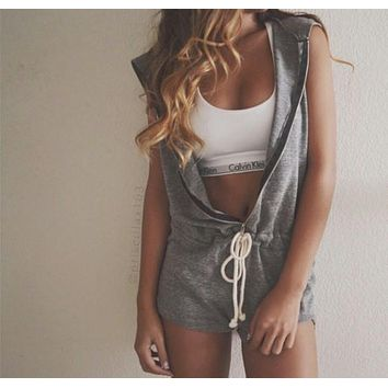 Fashion Hooded Strappy Solid Color Jumpsuit Rompers