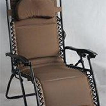 Eclipse Patio Taupe Gravity Lounge Chair W/Canopy Oversized 29.53 inch W X 35.43 inch L X 44.49 inch H