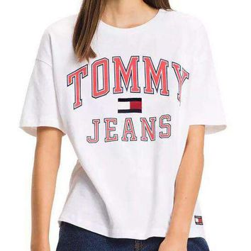 Tommy Jeans Trending Women Men Casual Letter Print Pure Cottom T-Shirt Pullover Top White I-KWKWM
