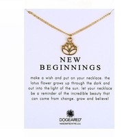 Hollowed Lotus Flower Card Alloy Clavicle Pendant Necklace  171208