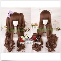 HOT!【new Sweet brown curls LOLITA / cosplay wig Three-piece/ wig +Hairnet】