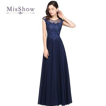 MisShow Elegant A Line Navy Blue Long Chiffon Prom Dresses 2017 Sexy Beaded Appliques Evening Dress For Graduation Party Gown