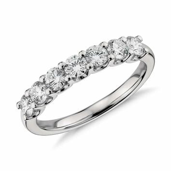 1.3TCW Russian Lab Diamond Wedding Band Half Eternity Ring