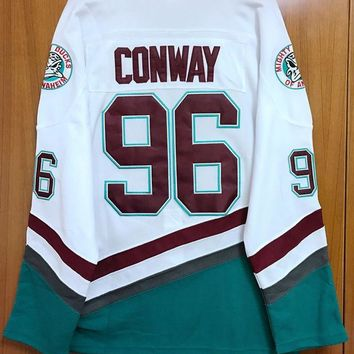 CREYON1 Mighty Ducks Movie Jersey #96 Charlie Conway Hockey Jersey Stitched All Sewn