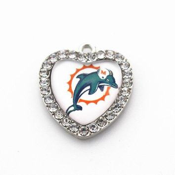 12pcs Crystal Heart Miami Dolphins Dangle Charms DIY Bracelet Jewelry Accessory Football Sports Hanging Charms