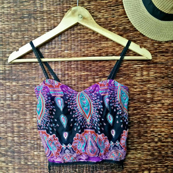 Fringe Crop top camisole floral Paisleys print pattern fabric bohemian Boho Hippies tribal lace straps Summer festival women red purple