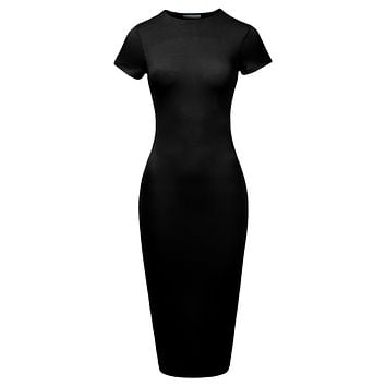 LE3NO Womens Stretchy Fitted Short Sleeve Basic Bodycon Maxi Dress