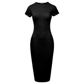 Stretchy Fitted Short Sleeve Basic Bodycon Maxi Dress