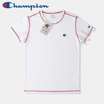 Champion new tide brand men and women models express embroidery small logo round neck short-sleeved T-shirt white