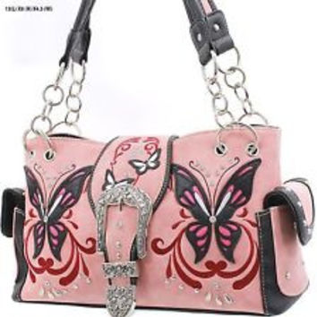 * WESTERN RHINESTONE HANDBAG CONCEALED CARRY PURSE In Pink