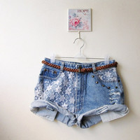 Make To Order - Vintage High Waist  White Lace Studded Cut Off Shorts