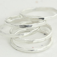 Sparkly Sterling Silver Stack Rings - Set of Three Rings - Handmade Thin Rings - Minimalist Ring - Artisan Boho Jewelry - Christina Guenther