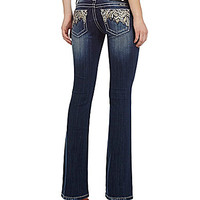 Miss Me Embellished-Pocket Bootcut Jeans - Medium Blue