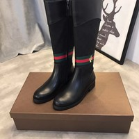 GUCCI GG Web Bee Leather Boot