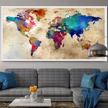 Large World Map Wall Art Poster, World Map Wall Art,World Map Push Pin,Push Pin Map Art,World Map Art Print,World Map Watercolor Art,Travel - L93